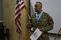 U.S. Army Staff Sgt. Renie Arana, with the 2nd Battalion, 7th Cavalry Regiment, 1st Cavalry Division, speaks after receiving an Audie Murphy Award at Bagram Airfield, Parwan province, Afghanistan, May 10, 2013 130510-A-XM609-048.jpg