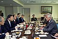 U.S. Defense Secretary Chuck Hagel, right, meets with Chinese State Councilor Yang Jiechi, second from left, at the Pentagon 141020-D-DT527-070c.jpg
