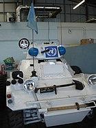UN peacekeeping light armed mechanised vehicle in Bovington Tank Museum, Dorset.