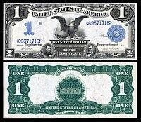 Certificado de prata de $ 1, série 1899, Fr.226, representando Abraham Lincoln e Ulysses Grant
