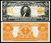 $20 Gold Certificate, Series 1906, Fr.1185, depicting George Washington