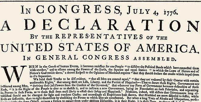 The opening of the original printing of the Declaration, printed on July 4, 1776 under Jefferson's supervision. The engrossed copy was made later (shown at the top of this article). Note that the opening lines differ between the two versions. US-original-Declaration-1776.jpg