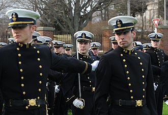 Coast Guard cadets wearing Full Dress Blue (B) uniforms USCG Cadet Fall Parade Uniform.jpg