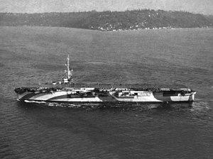 USS Block Island (CVE-106) - USS Block Island (CVE-106) underway on 13 January 1945