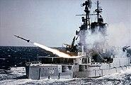 USS Mississippi (EAG-128) fires an SAM-N-7 Terrier missile c1954