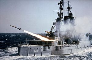 USS Mississippi (BB-41) - USS Mississippi firing a Terrier missile