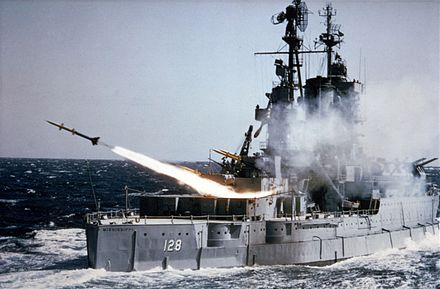 Mississippi launching a RIM-2 Terrier missile USS Mississippi (EAG-128) fires an SAM-N-7 Terrier missile c1954.jpg