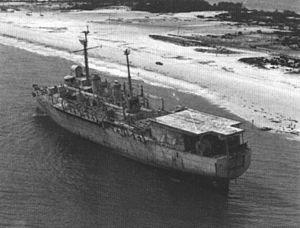 USS Ozark (LSV-2) - USS Ozark as a target ship, aground near Perdido Key in 1979.