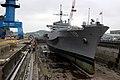US Navy 040413-N-1693W-037 USS Blue Ridge rests in the Naval Ship Repair Facility dry dock located in Yokosuka, Japan.jpg