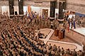 US Navy 040513-M-1178B-020 Secretary of Defense Donald Rumsfeld and Chairman of the Joint Chief of Staff Gen. Richard Myers address Soldier, Sailors, Airman and Marines during a town hall meeting.jpg