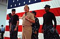 US Navy 041018-N-9104W-107 Master Chief Petty Officer of the Navy (MCPON) Terry Scott addresses sailors aboard the amphibious assault ship USS Iwo Jima (LHD 7) during the unveiling of the new Task Force Uniform concept for Sail.jpg