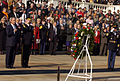 US Navy 041111-G-3024G-800 President George W. Bush and Commanding General, Maj. Gen. Galen B. Jackman pay respects to the unknown servicemen laid to rest at the Tomb of the Unknowns.jpg