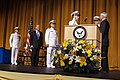 US Navy 050722-N-2383B-007 Secretary of the Navy Gordon England administers the Oath of Office to Adm. Mike Mullen during the Chief of Naval Operations change of command ceremony.jpg