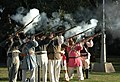 US Navy 060111-N-2736O-001 The Alamo Ceremonial Guard fires their muskets during a 21-gun salute at a ceremony with the crew members assigned to the amphibious transport dock ship USS San Antonio (LPD 17).jpg