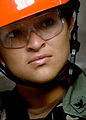 US Navy 070607-N-0553R-003 Builder 3rd Class Yeraldy Ramos, a disaster recovery team member stationed with Naval Mobile Construction Battalion (NMCB) 1, stands by during a training evolution at Naval Construction Battalion Cent.jpg