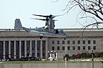 US Navy 070719-N-0962S-005 A V-22 Osprey, from Marine Tiltrotor Operational Test and Evaluation Squadron (VMX) 22, hovers before landing at the Pentagon to pick up a group of military and civilian officials.jpg