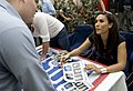 US Navy 090713-N-0696M-134 Sports announcer and model Leeann Tweeden signs autographs aboard the aircraft carrier USS Ronald Reagan (CVN 76) in the Gulf of Oman.jpg
