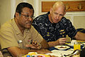 US Navy 100121-N-7498L-107 Vice Adm. D.C. Curtis, commander of Naval Surface Forces, held a round-table discussion over breakfast aboard the guided-missile cruiser USS Port Royal (CG 73).jpg