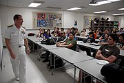 US Navy 100329-N-2389S-034 Rear Adm. Barry Bruner, commander of Submarine Group 10, talks to engineering students at Arizona State University during Phoenix Navy Week. Phoenix is one of 20 Navy Weeks planned across America for