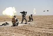 US Special Forces soldier fires a Carl Gustav rocket during a training exercise conducted in Basrah Iraq