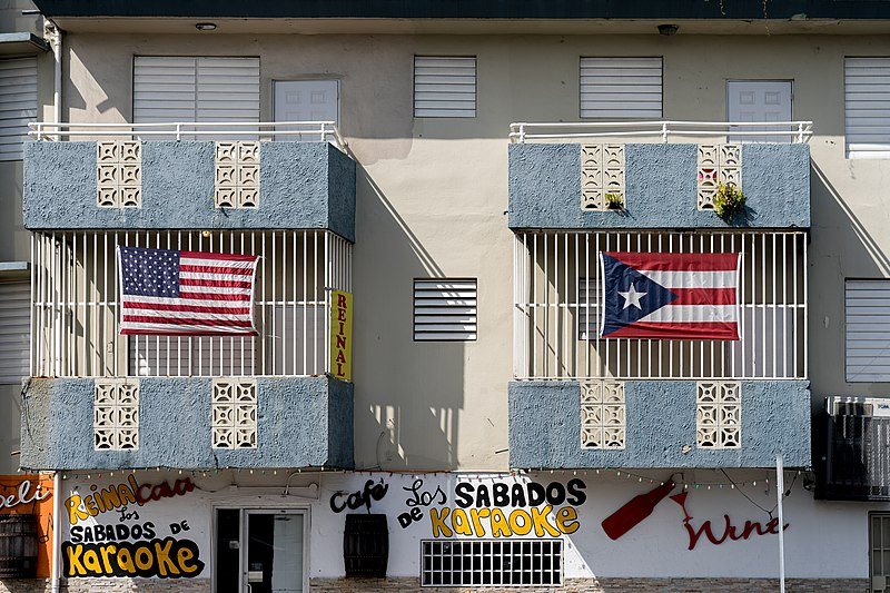 File:US and Puerto Rico flags on a building in Puerto Rico.jpg