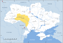 Podolia (yellow) in modern Ukraine