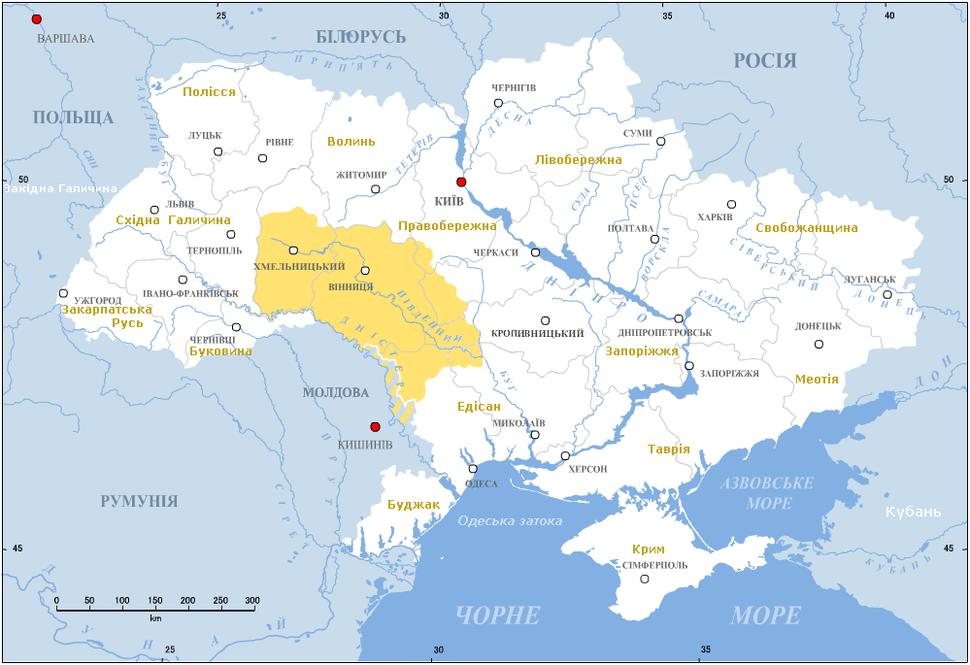 Podolia (yellow) in modern Ukraine