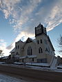 United Church, Athabasca AB, from the north east, portrait format.JPG