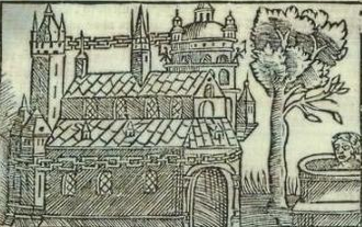 Sacred tree at Uppsala - Image showing the sacred tree to the right of the temple, from Olaus Magnus' Historia de Gentibus Septentrionalibus (1555). To the right of the tree is a depiction of a man being sacrificed in the spring.