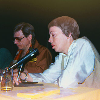 Ursula K. Le Guin - Le Guin with writer Harlan Ellison at Westercon in Portland, Oregon, 1984