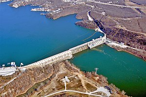 National Register of Historic Places listings in Miller County, Missouri - Image: User K Trimble AP of Bagnell Dam MO 2011 03 01
