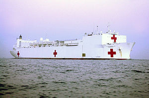 The USNS Comfort (T-AH-20) is a converted oil tanker now operated as a 1,000-bed hospital ship by the MSC.