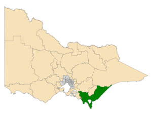 Electoral district of Gippsland South - Location of Gippsland South (dark green) in Victoria