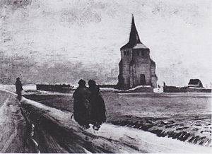 Old Church Tower at Nuenen - Image: Van Gogh Der alte Friedhofsturm in Nuenen mit drei Figuren