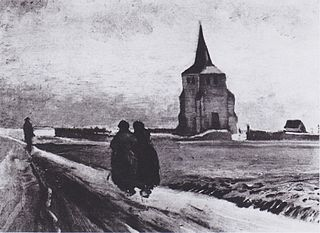 The Old Tower of Nuenen with People Walking