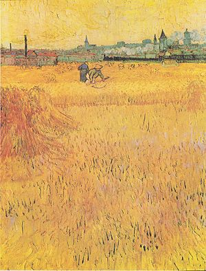 Arles: View from the Wheat Fields - Image: Van Gogh Weizenfeld mit Blick auf Arles