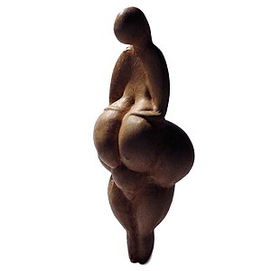 Gravettian - A replica of the Gravettian Venus of Lespugue. The Gravettians produced a large number of Venus figurines.