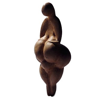 Gravettian - A replica of the Gravettian Venus of Lespugue. The Gravettians produced a large number of Venus figurines