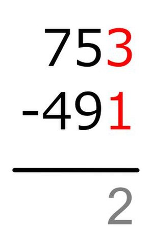 Subtraction - Image: Vertical Subtraction Method B Step 2