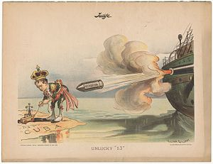 "USS Maine (ACR-1) - This cartoon followed the explosion of the battleship Maine in Havana harbor on February 15, 1898. King Alphonso XIII, who is shown playing with toy boats in Cuba, is about to suffer ""Retribution""."