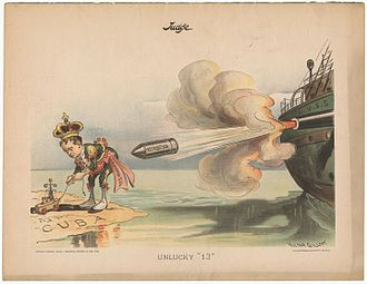 "USS Maine (ACR-1) - This cartoon followed the explosion of the battleship Maine in Havana harbor on February 15, 1898. King Alphonso XIII is shown playing with toy boats in Cuba and is about to suffer ""Retribution""."