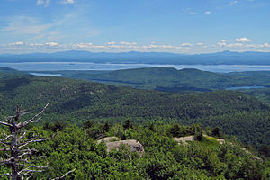 Poke-O-Moonshine Mountain - Image: View of Lake Champlain and Vermont from Poke O Moonshine Mountain fire tower