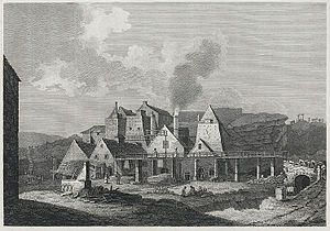 Blaenavon Ironworks - View of the iron works, 1800