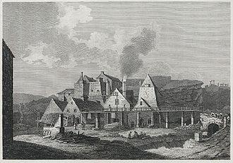 Blaenavon Ironworks - View of the iron works, 1800