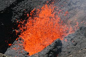 Lava fountain within the crater of Volcan Vill...