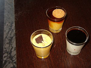 Balsamic vinegar - Three desserts in Modena with tradizionale balsamic vinegar: clockwise from left, zabaione, latte alla portoghese or crème caramel, and panna cotta.