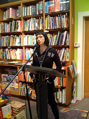 "Booksmith - Violet Blue at Booksmith, is reading Mistress Morgana Maye's ""Open Letter to the Bush Administration."" (The store is SRO)"