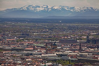 Olympiaturm - A view from the tower's observation platform towards the Alps.