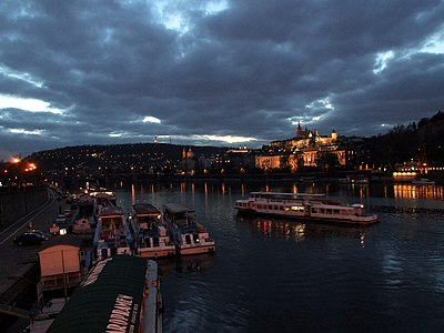 Boats on the Vltava River