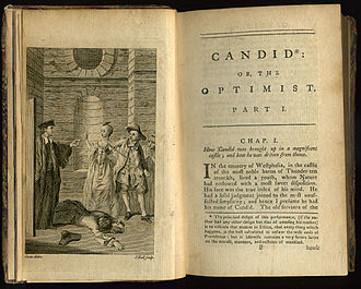 Frontispiece and first page of an early English translation by T. Smollett et al. of Voltaire's Candide, 1762 VoltaireCandidFrontis+Chap01-1762.jpg